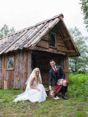 bride and groom wedding boat house loch side
