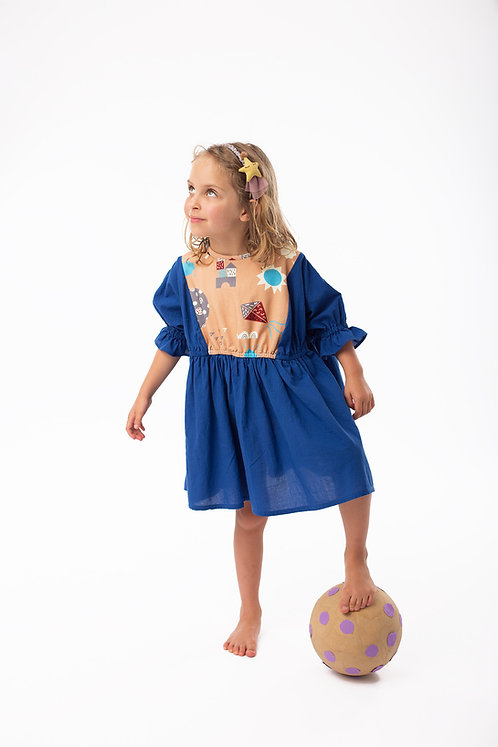 Blue wide dress with short, frilled sleeves