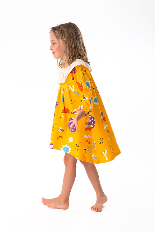 Frilled color yellow print dress