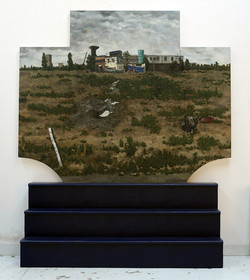 双桥农场266x230cm 装置绘画,布面,板面油画,着色木头 2015