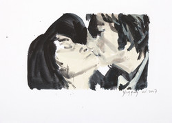列侬与样子   纸本水彩  27cmX19CM 2017