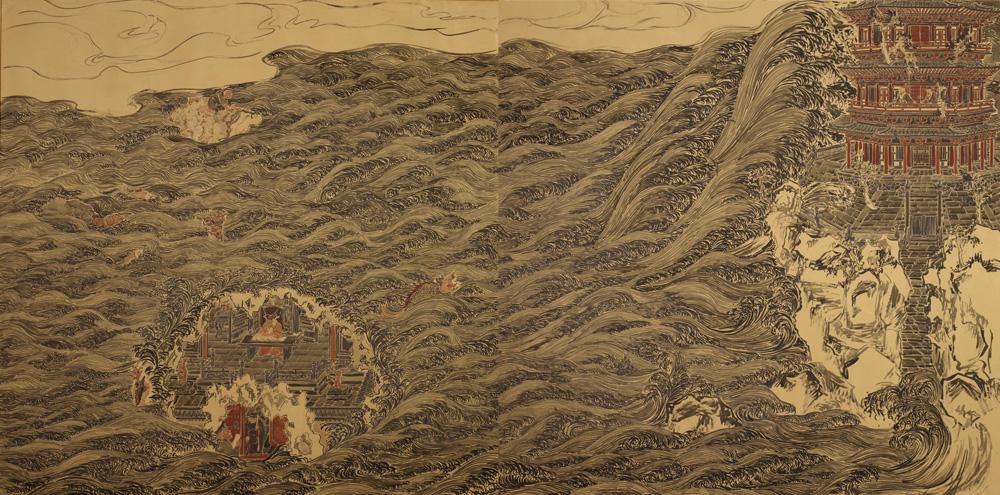 【佛造像】林海钟 《钱塘胜境图》 200x200cm x2  壁画  2011年