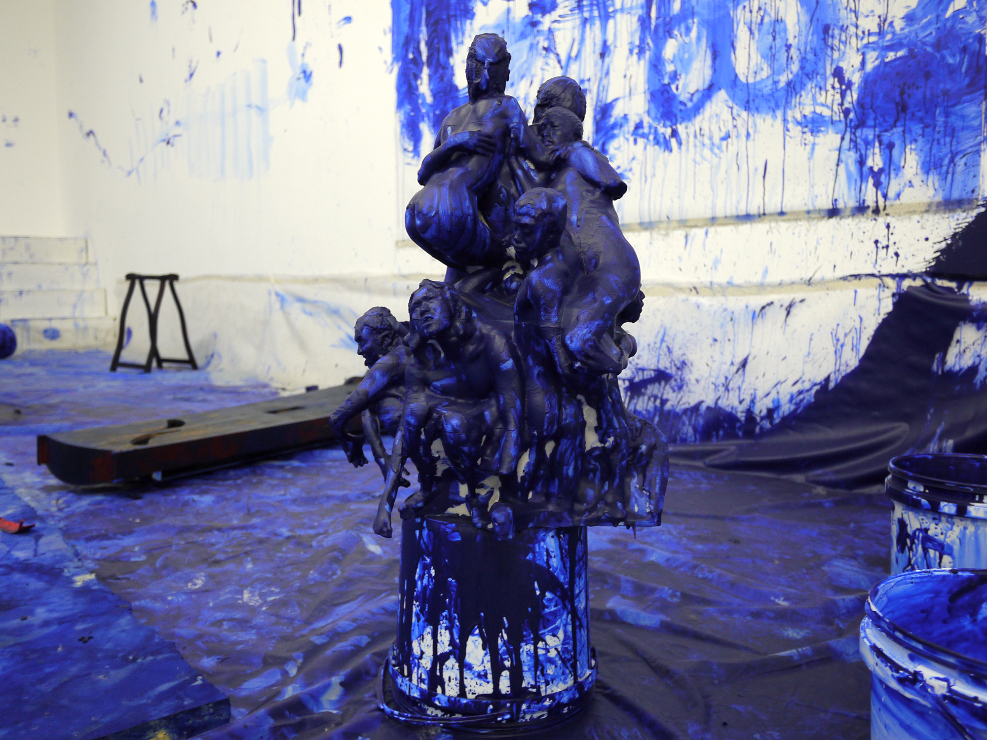 Double Fly's Klein Blue Sculpture 40x50x