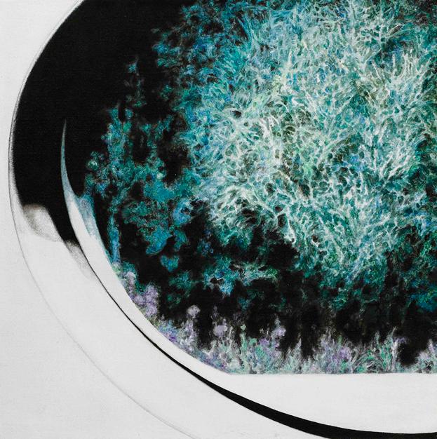 张轮 后视镜·窗外NO.11 布面油画铅笔 30x30cm.2011