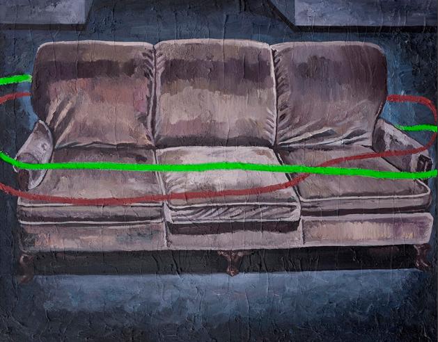 变成沙发并不是偶然 布面油画 110x140cm 2012