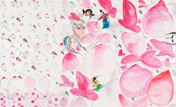 王濛莎.丸子计划.纸本设色.2015.150×600cm 局部