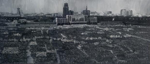 广场 上海 布面油画 600x250cm 2009