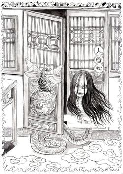 人面蛇 纸本水墨 29x21cm 2014