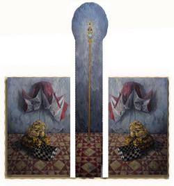 《无题》 布面油画 135x90cmx2 185x40cm 2012