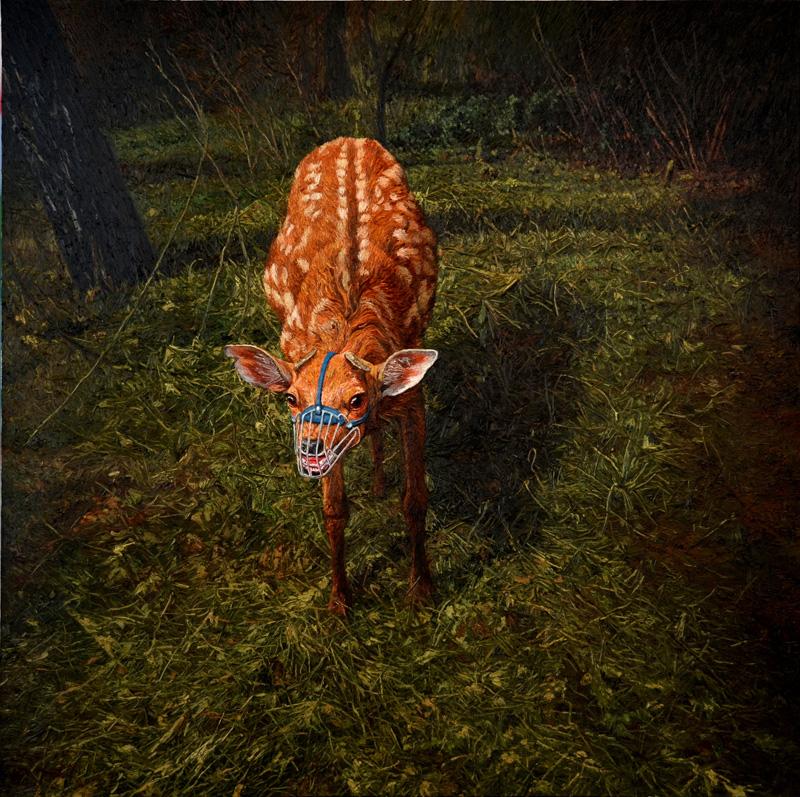 凶鹿  布面油画  180x180cm  2013