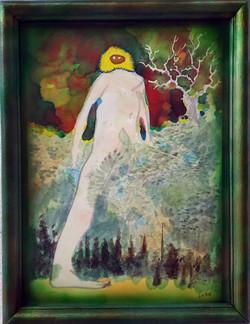 《巨人》2016 纸本水彩 马克笔 硝基颜料 镜框