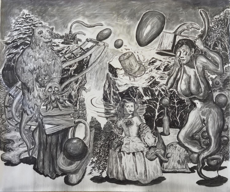 宫娥   纸面综合材料,150×180cm,2015年