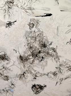 沈瑞筠《故事发生在山的那边》(细节) 透明薄片、铅笔、木板 120x160cm