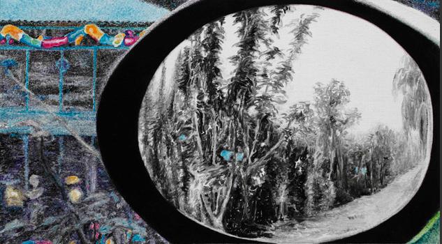 后视镜NO.3 布面油画 30.4x54cm.2011
