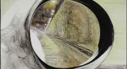 后视镜·隧道NO.18 布面油画 30.4x54cm.2011