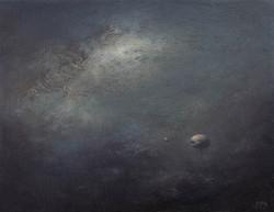 流青云18cmx14cm布面油画2017年。