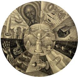 圆,布面丙烯,直径,110CM,2010