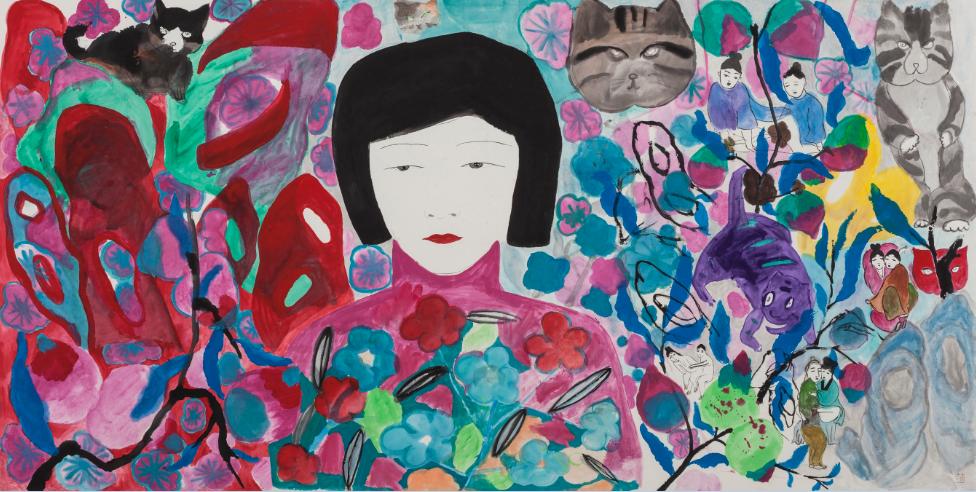 《猫咪森林》 纸本设色 243x124cm 2014年