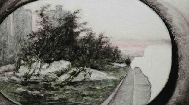 后视镜NO.30 布面油画铅笔 30.4x54cm 2011