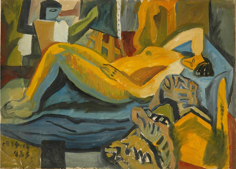 1984年《躺着的女人》,54cmx39cm,纸上油画,王易罡