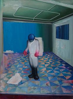 清洁工 布面油画  120x90cm 2013