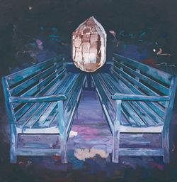 不生动的长椅 布面油画 170x170cm 2011