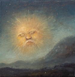 太阳公公10cmx10cm布面油画2017年。