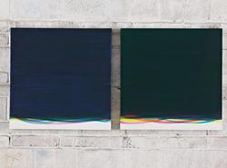周思维 S.N.M.蓝和绿 布面油画 50cmX50cmX2 2011