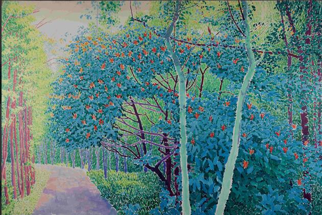 公园小道 布面油画 200x300 2011