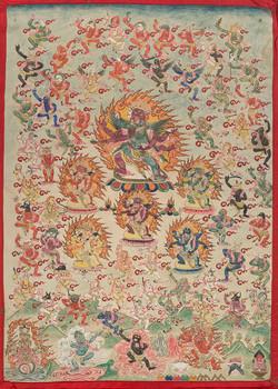 萨然哈巴(收藏)/文武百尊/纸本设色/60x43cm/17-18世纪/a