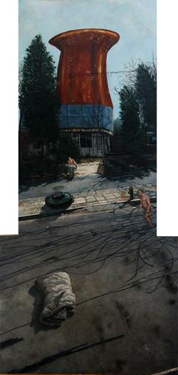 小营的街 218 x100cm 布面油画 2013