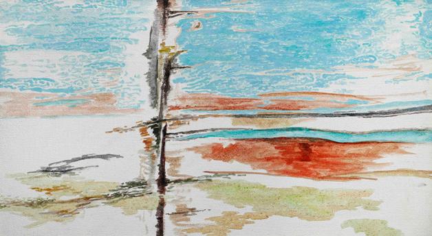 后视镜·窗外NO.2 布面油画 30.4x54cm.2009