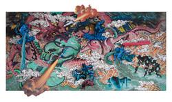 酞菁虎大玫瑰龍之Aquarius 综合材料 60x120cm 2013