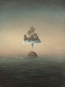 鲸喷60x80cm布面油画2019年1月14日