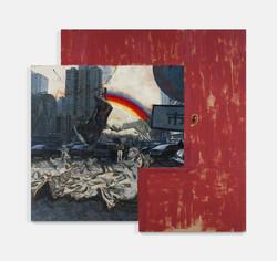 李大方 《程凌娅的斜阳》2012 布面油画,着色木头 378 x 400 x 7