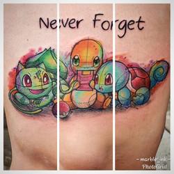 Watercolor Pen Sketch: Pokemon Starter Trio