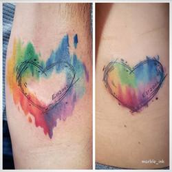 Watercolor Pen Sketch Hearts
