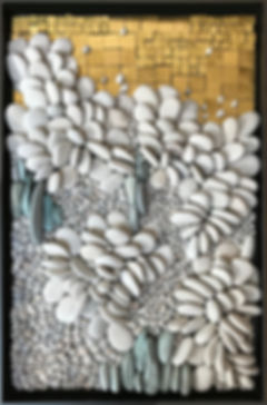 "18.5""X12""pebble and gold smalti mosaic-framed"