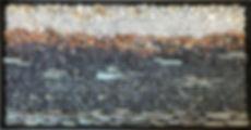 "25""x13"" pebble mosaic framed"