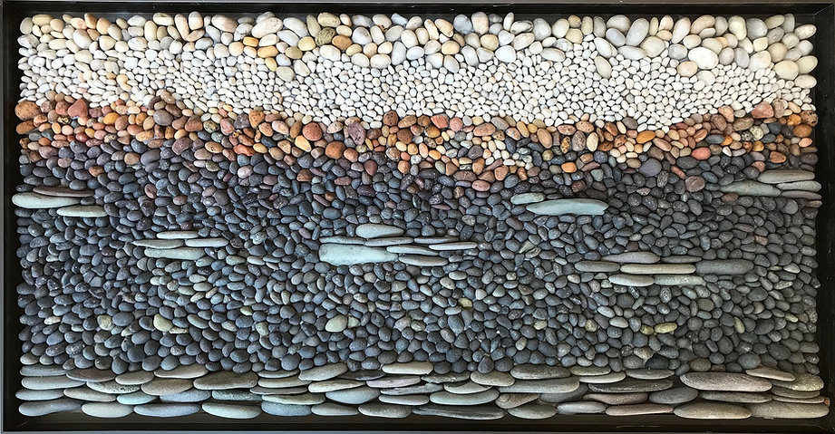 "25""x13"" pebble mosaic framed"