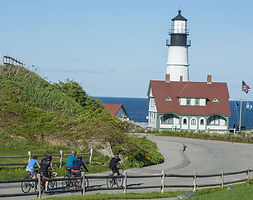 Biking towards Portland Head Light