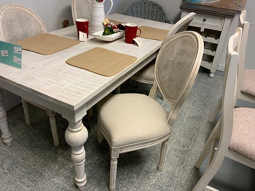 Pair Cane Back Dining Chairs Whitewash 63859