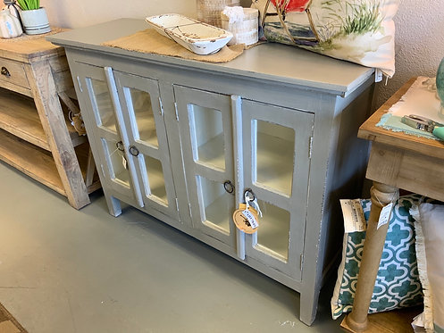 Glass Door Cabinet (Antique Gray)
