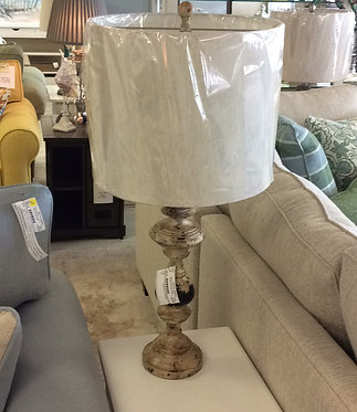 Weathered finish table lamp
