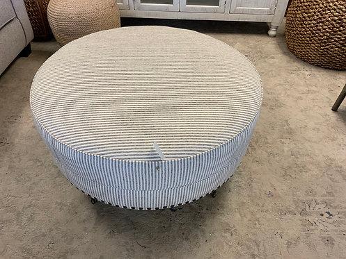 Round Ottomon Grey Stripe 63468