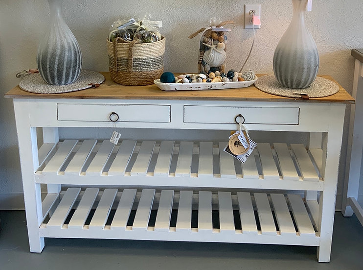 Slat shelf console table