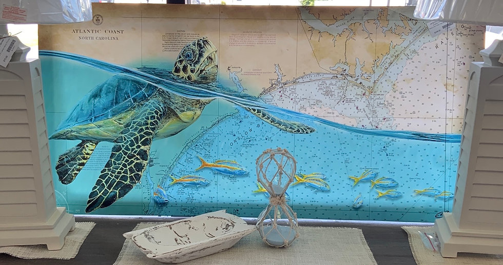 Blue line turtle canvas