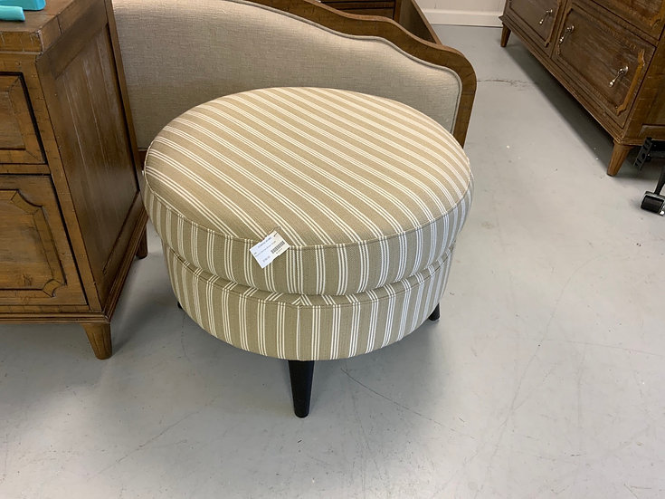 Brown Stripe Round Ottoman
