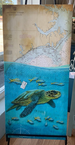 Sea turtle canvas chart