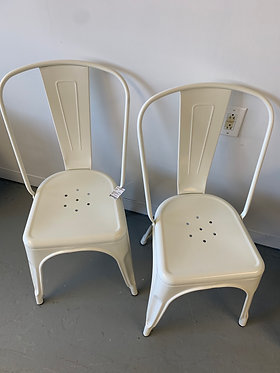 Pair of Metal Dining Chairs-White